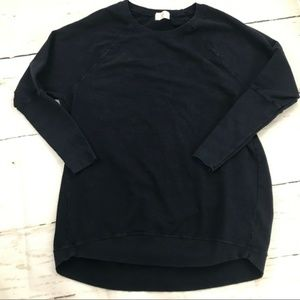 Anthro • T. La black oversized crew neck sweater